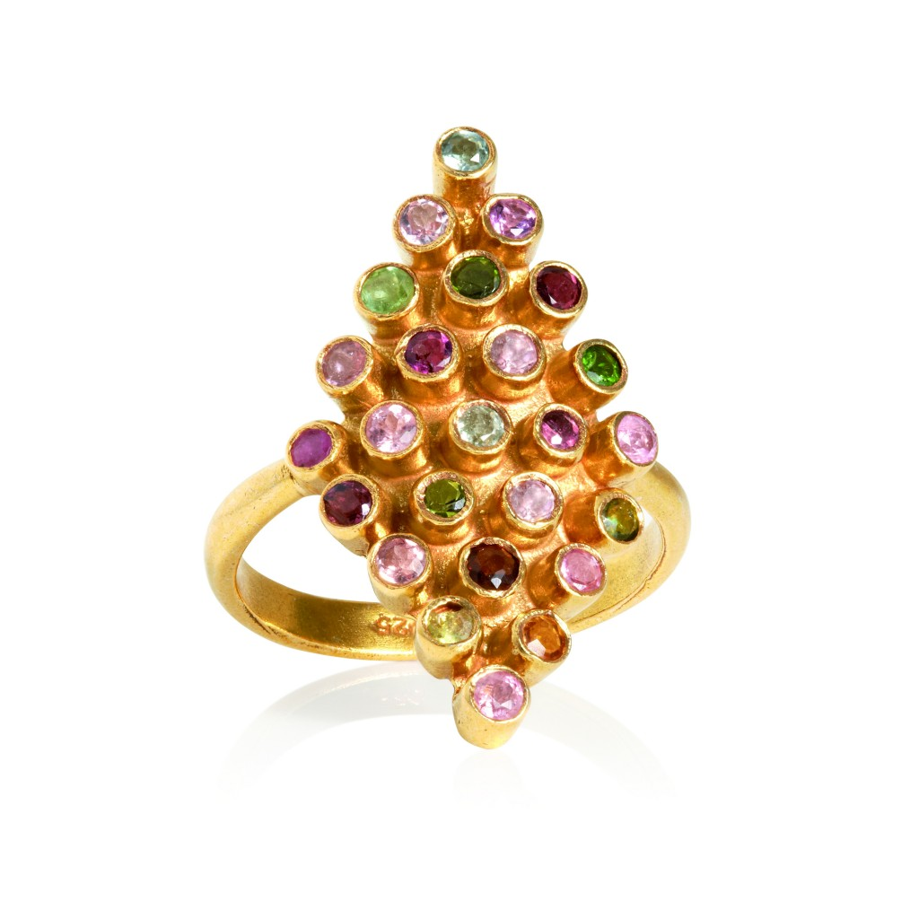 Romance No Thanks gold-plated sterling silver ring with tourmaline stones