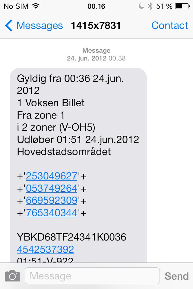 dsb billet sms