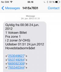 Pay for ticket with SMS iphone Copenhagen 1514 8514 Tick for public transport train bus metro location zones voksen bike actual ticket