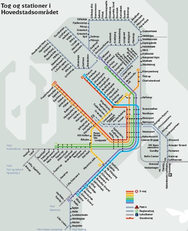 S-train s-toget map copenhagen Scandinavia Standard