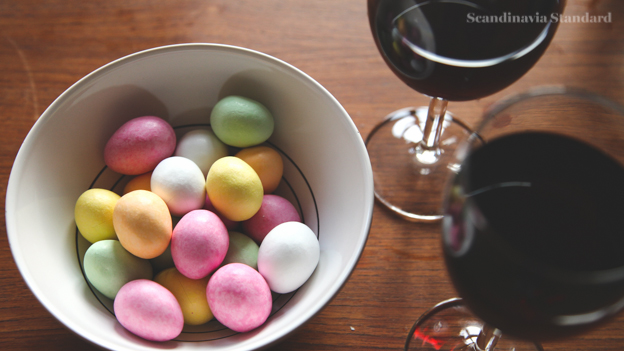 Danish Mazipan Easter Eggs and Red Wine on Scandinavia Standard 2