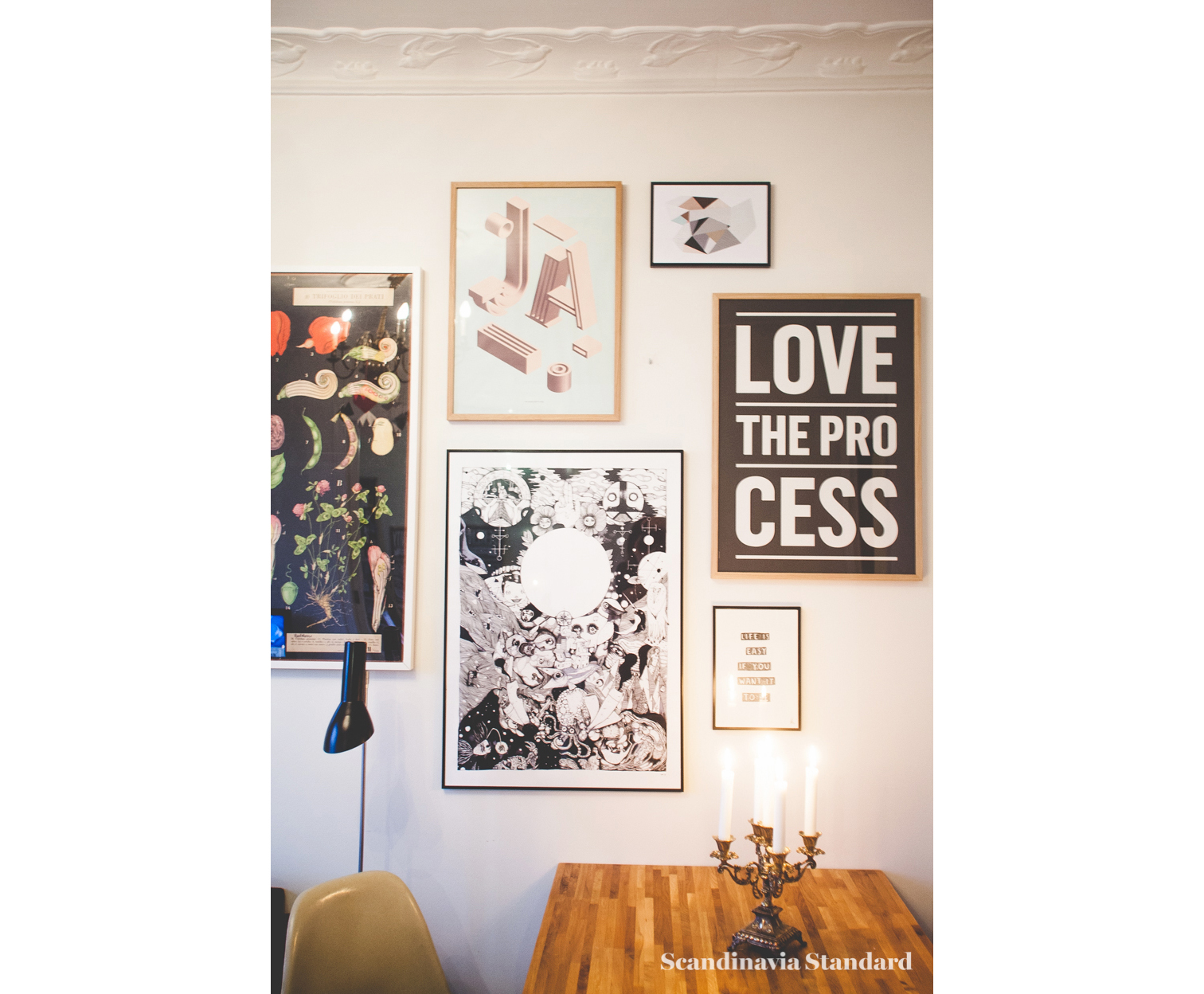 Scandinavia Standard I LOVE MY TYPE Dining Room Table with Candles and Posters