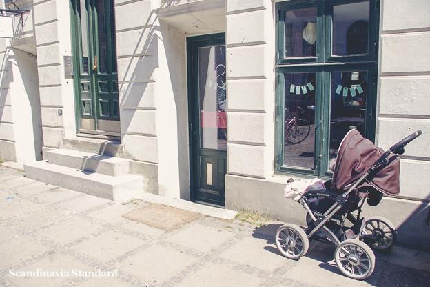 Child Care in Denmark - Pram or Stoller Outside Store | Scandinavia Standard