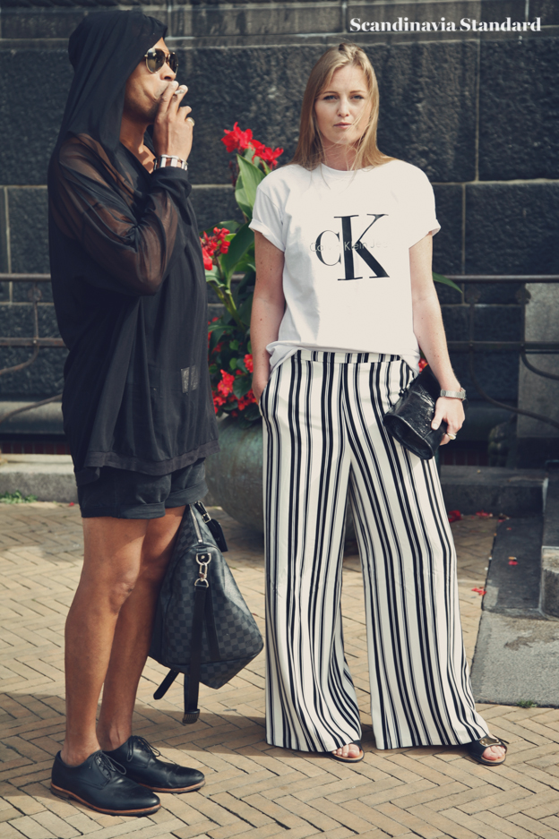 Ck shrit and stripe pants #2  - Copenhagen Fashion Week Street Style | Scandinavia Standard