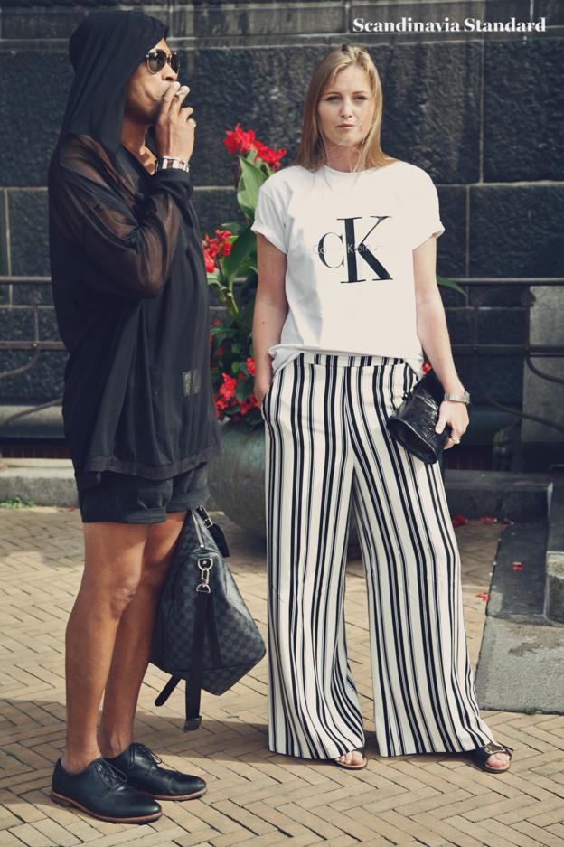 Ck shrit and stripe pants #2  - Copenhagen Fashion Week Street Style | Scandinavia Standard