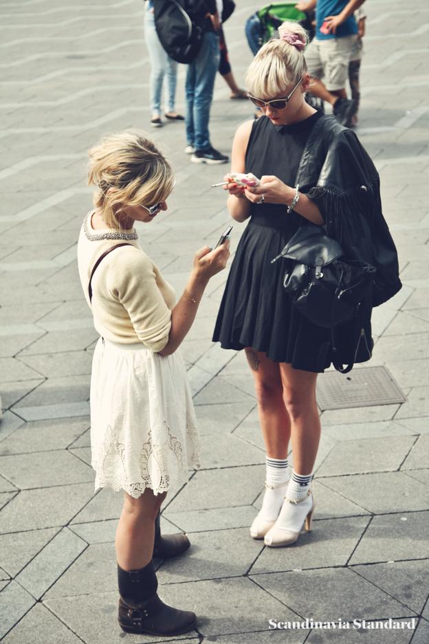 black dress, socks and heels - Copenhagen Fashion Week Street Style | Scandinavia Standard