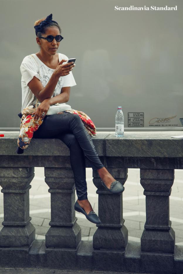 legs crossed and bandana around head-2 - Copenhagen Fashion Week Street Style | Scandinavia Standard