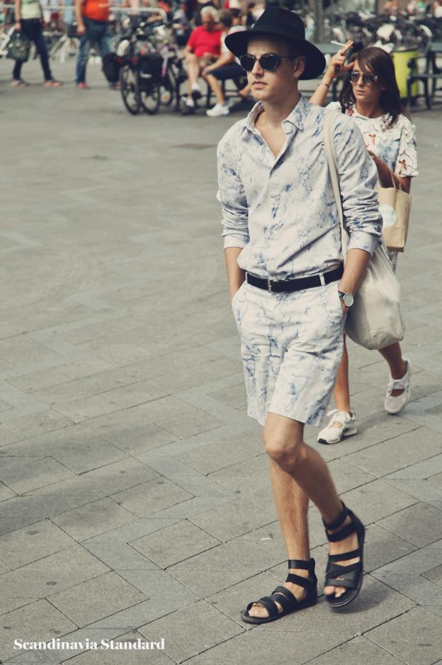 matching shorts and top, sandels and hat - Copenhagen Fashion Week Street Style | Scandinavia Standard