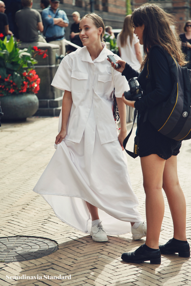 white skirt and shirt - Copenhagen Fashion Week Street Style | Scandinavia Standard