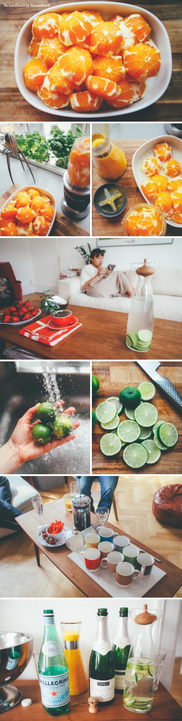 6. Danish Brunch Drinks - Champagne, Lime Water & Fresh Orange Juice | Scandinavia Standard