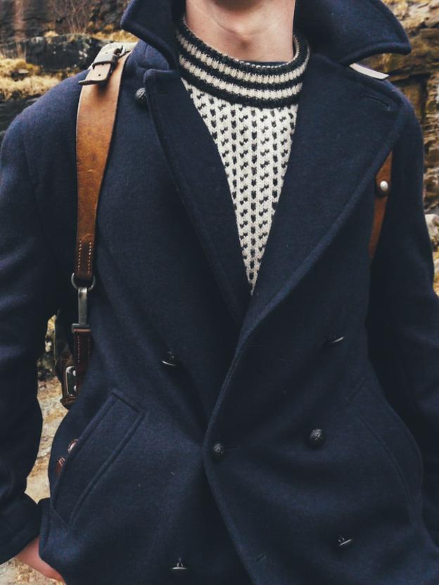 Saint James Navy Pea Coat   Men's Capsule Collection