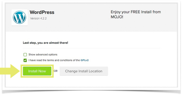 STEP 7. Installing WordPress - Last Step - Install Now - Terms and Conditions - MOJO expert - Blue Host - A Very Scandi Guide to Creating Your Own Blog   Scandinavia Standard