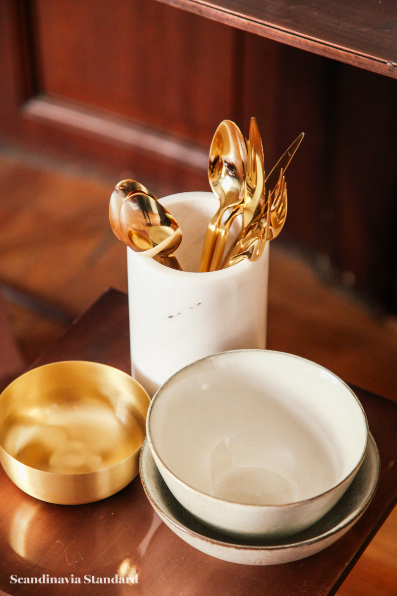 Broste Copenhagen - Danish Design without the Price Tag - Gold Cutlery - Knifes, Forks, Spoons - White Bowls - Autumn Winter 2015 Sneak Peak | Scandinavia Standard