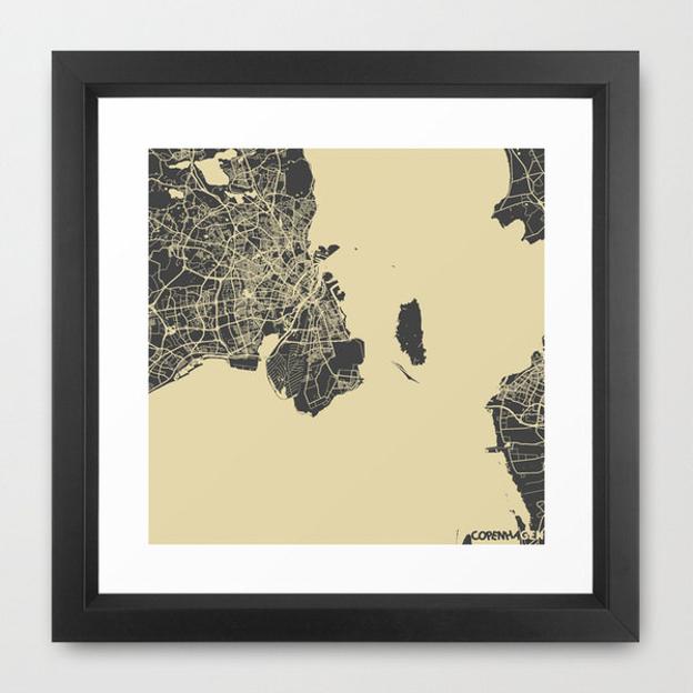 Giclée Copenhagen Map from Maps Maps Maps, 142 DKK - Etsy | Scandinavia Standard