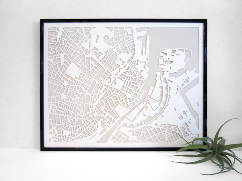 Handcut Paper Map of CopenhagenfromVellum and Trace - 460 DKK - Etsy | Scandinavia Standard