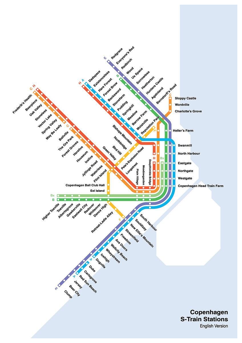 Literal English Translation of Copenhagen S-Train Mapfrom CPHTrain - 99 DKK - Etsy | Scandinavia Standard