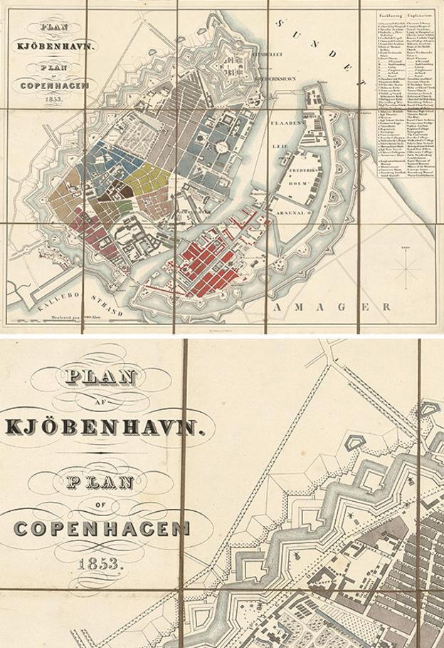 Print of Copenhagen Antique Map - 1853 - from Victorian Wall Decor - 169 DKK - Etsy | Scandinavia Standard