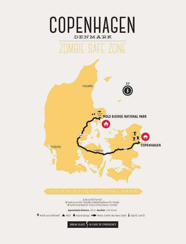 Zombie Safe Zone Copenhagen Map from Design Different, 135 DKK - Etsy | Scandinavia Standard
