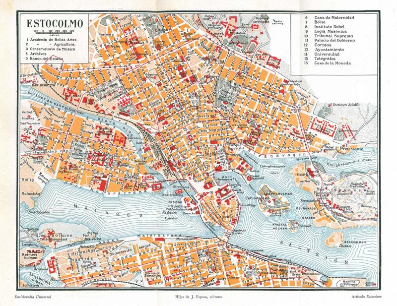 Vintage 1920 map stockholm