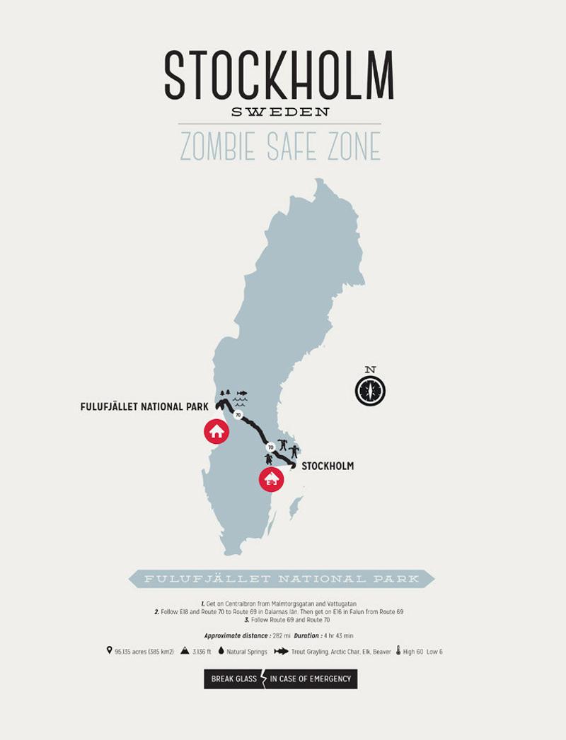 Zombie Safe Map Stockholm