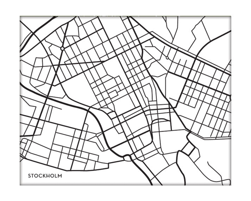 graphic print map stockholm