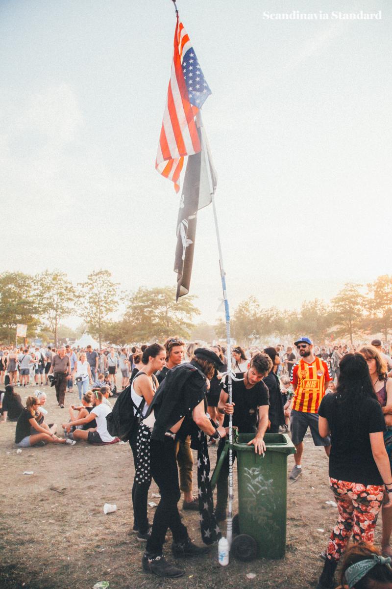 Roskilde Festival Upside Down American Flag and Pirate Flag | Scandinavia Standard