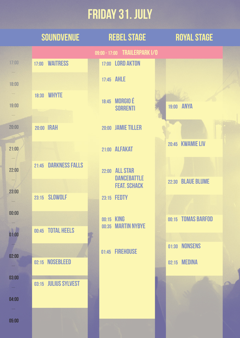 Trailerpark Festival Program Friday 2015 Lineup Stages