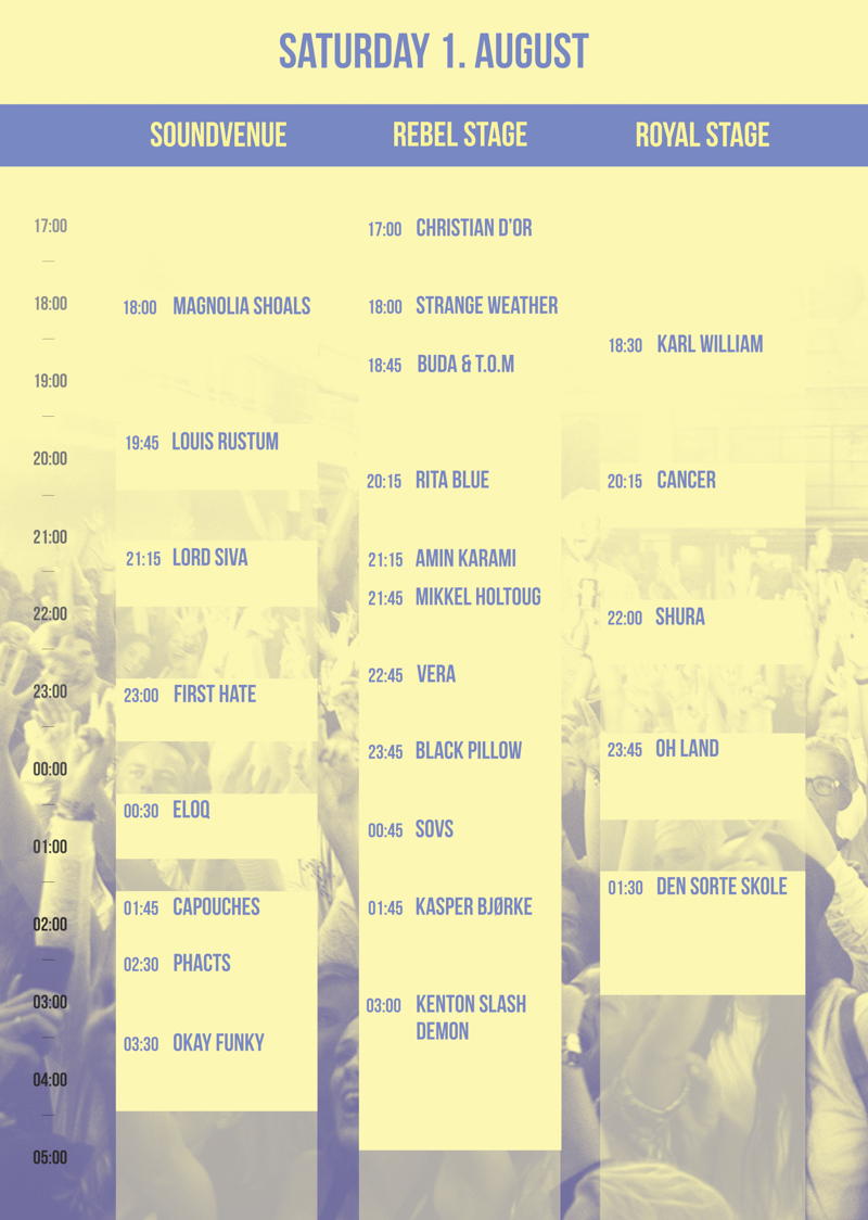Trailerpark Festival Program Saturday 2015 Lineup Stages