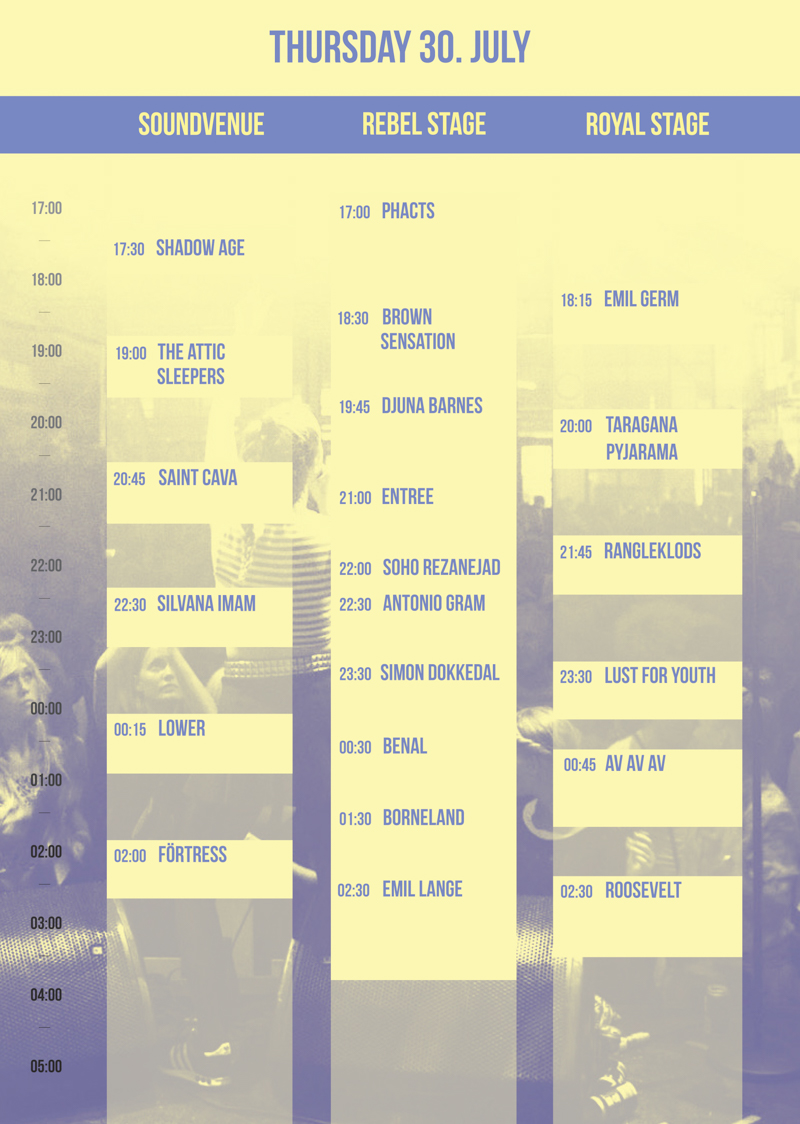 Trailerpark Festival Program Thursday 2015 Lineup Stages