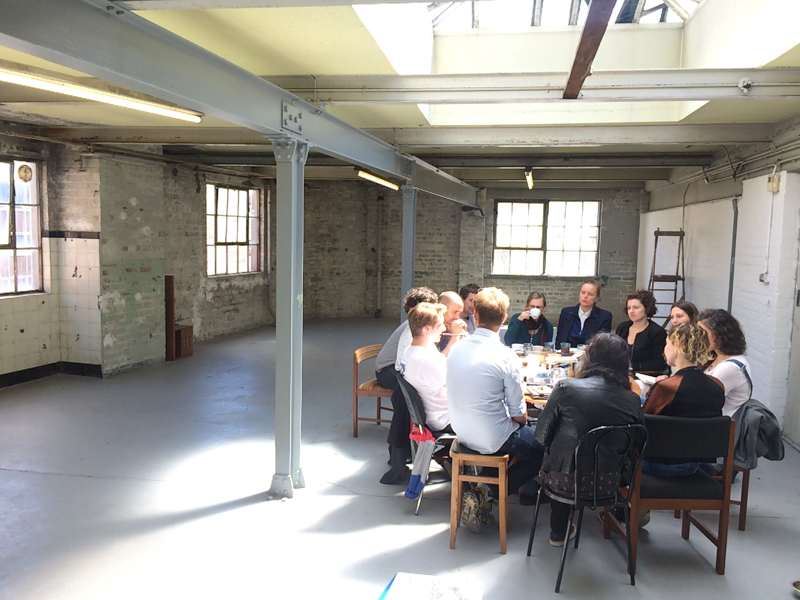 Discussions at The Biscuit Factory - this years exhibition space in Edinburgh_