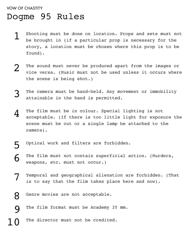 Dogme95 Rules | Scandinavia Standard