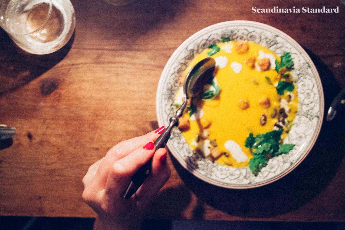 Starters - Pumpkin soup & foie gras   Scandinavia Standard