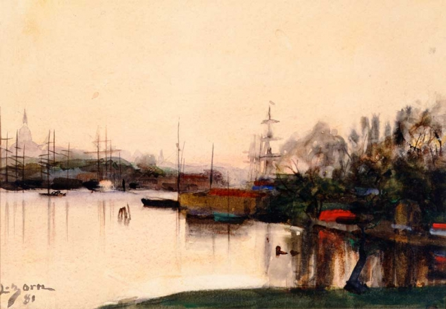 Anders Zorn, (1860-1920). Stockholmsbild, akvarell, 1881, 23 x 29 cm. Foto Zornsamlingarna-Zornmuseet.