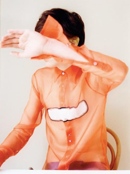 LAZOSCHMIDL orange sheer shirt fuck yeah
