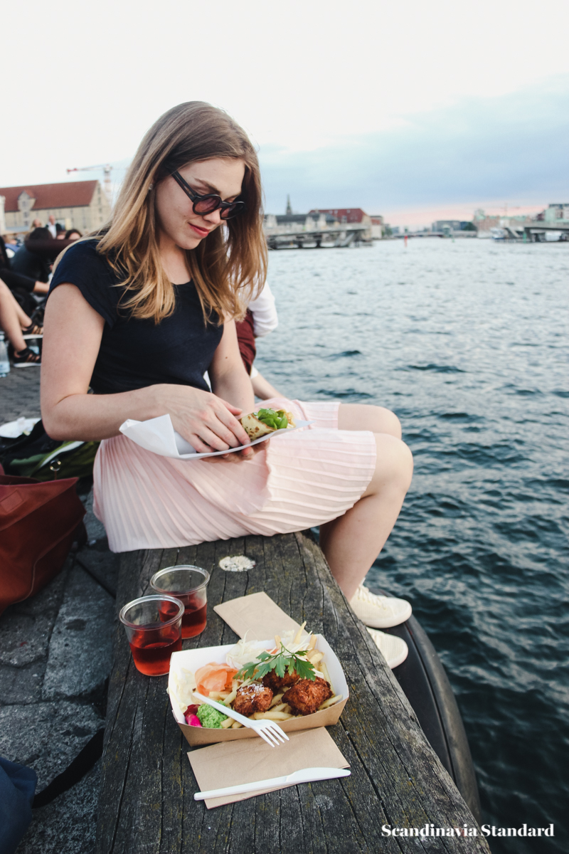 Eating at Copenhagen Street Food Fish and Chips