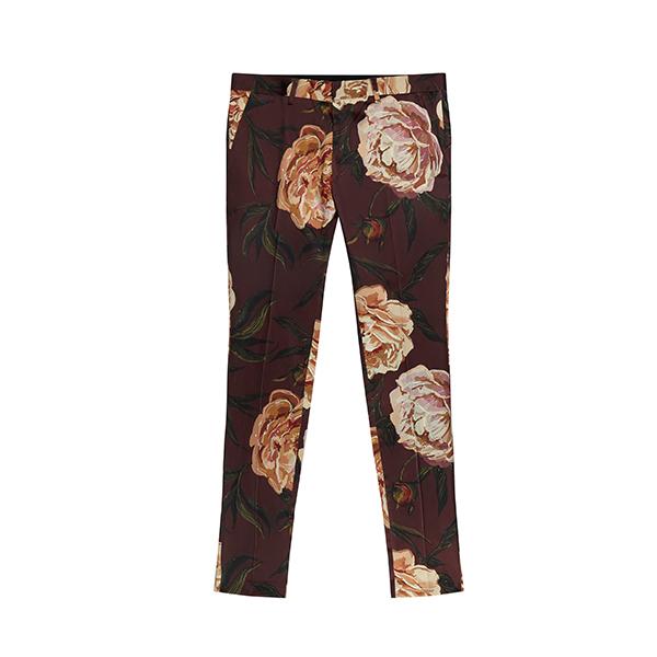 Super Skinny Suit Trousers In Burgundy Floral Print Sateen - Burgundy Asos 4bdJpsn
