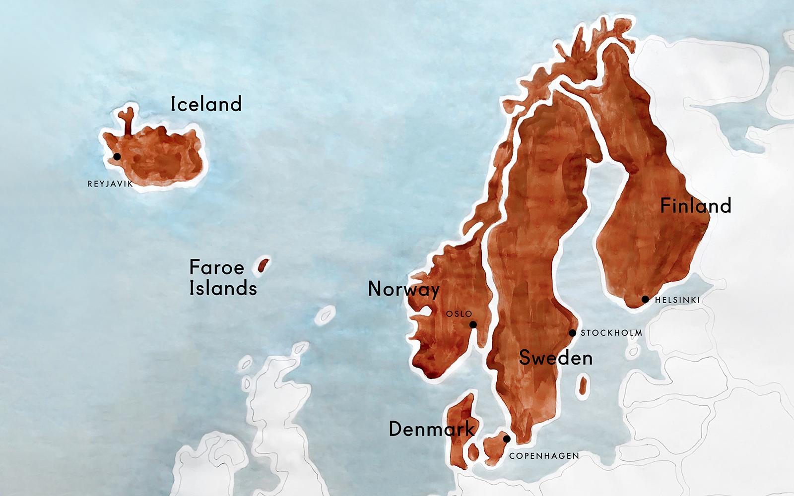 mountain landscape Map of Scandinavia A6